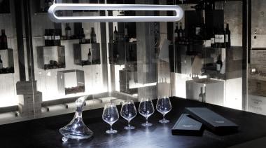 Pendant Light countertop, furniture, glass, interior design, table, black