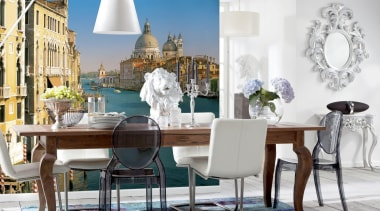 Venezian Interieur chair, dining room, furniture, home, interior design, room, table, white