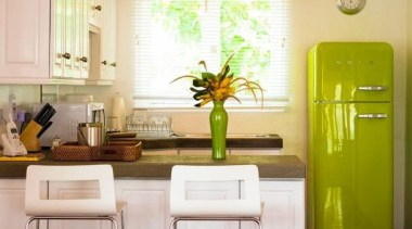 A beautiful kitchen with a Smeg Fab32 in home, interior design, kitchen, living room, room, table, yellow, white