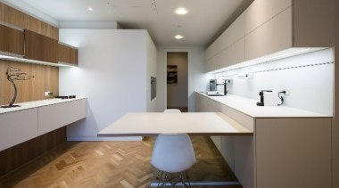 Highly Commended in the Category Imported Kitchen architecture, cabinetry, ceiling, countertop, daylighting, floor, flooring, home, interior design, interior designer, kitchen, product design, real estate, room, sink, gray, brown