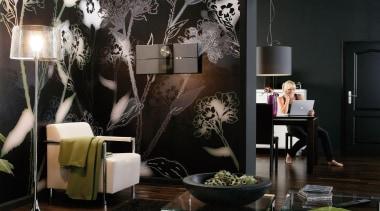 Bellezza Interieur couch, decor, furniture, interior design, light fixture, lighting, living room, room, table, black