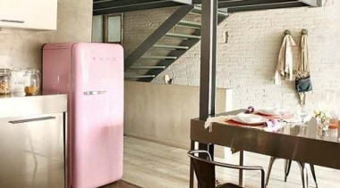 The Smeg retro fab fridge featured in this ceiling, floor, flooring, furniture, interior design, loft, table, white, brown