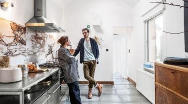 Stainless steel Smeg cooktop and rangehood looks perfect countertop, floor, flooring, interior design, kitchen, room, white, gray