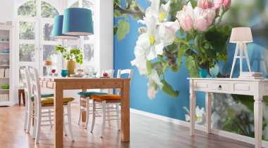 Primavera Interieur blue, chair, dining room, flower, furniture, home, interior design, room, table, wall, window, gray