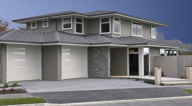 Generously proportioned two-storey home crafted from Linea weatherboard building, elevation, estate, facade, home, house, neighbourhood, property, real estate, residential area, roof, siding, suburb, window, gray