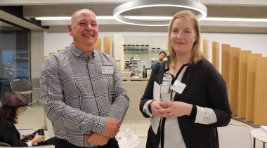David Higginson  (IKON) and  Hannah Bowden communication, institution, public relations, gray