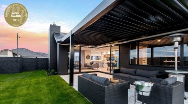 Amazing all-weather outdoor space estate, home, house, interior design, property, real estate, roof, black