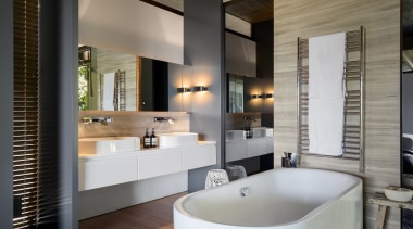 Winner: 2017 TIDA International Bathroom of the YearSee bathroom, interior design, room, gray, black