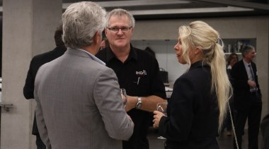 John and Michelle van Dinther (Realty Return) event, suit, vehicle, black, gray