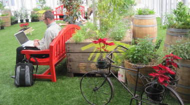 Commercial landscape backyard, bicycle, bicycle accessory, carriage, cart, flower, garden, grass, lawn, plant, product, tree, vehicle, yard, green