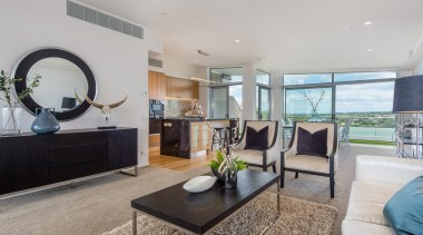 Open space dining and living area with seaview home, interior design, living room, property, real estate, gray