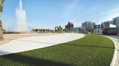 Commercial landscape architecture, asphalt, grass, landscape, lawn, plant, real estate, residential area, sky, urban design, water resources, teal, brown, white