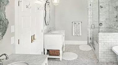 For more information, please visit Casa Italiana Herringbone bathroom, ceiling, floor, flooring, home, interior design, plumbing fixture, room, tile, wall, white