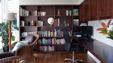 Laundry, bar, scullery, library designs, and more, we bookcase, furniture, home, interior design, living room, shelf, shelving, red, black