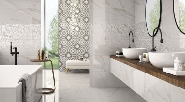Create sophisticated spaces with high resolution digitally printed bathroom, bathroom accessory, ceramic, floor, flooring, interior design, sink, tap, tile, wall, gray
