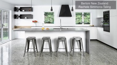 Highly Commended – Berloni New Zealand, Rachele Simmons countertop, cuisine classique, floor, flooring, furniture, interior design, kitchen, product, table, white, gray
