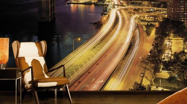 NYC Lights Interieur cityscape, night, reflection, brown, black