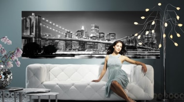 Brooklyn Bridge Interieur couch, furniture, gray, black