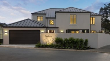 New Albany Show Home building, elevation, estate, facade, home, house, property, real estate, residential area, siding, gray, black