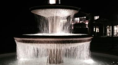 Karaka Water Feature 2 darkness, fountain, lighting, night, reflection, water, water feature, black, gray