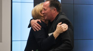 Judy Johnson with  Paul Clarke from Studio2 communication, interaction, professional, black