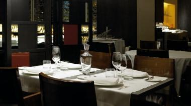 Adagio from Grok, Spain dining room, furniture, interior design, restaurant, table, black