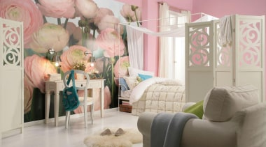 Gentle Rose Interieur bed, bedroom, furniture, home, interior design, nursery, pink, product, room, textile, wall, gray