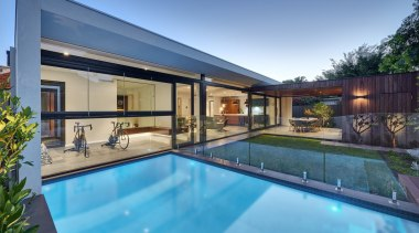 Urbane Projects architecture, backyard, estate, home, house, leisure, property, real estate, reflection, residential area, roof, swimming pool, villa, window, teal