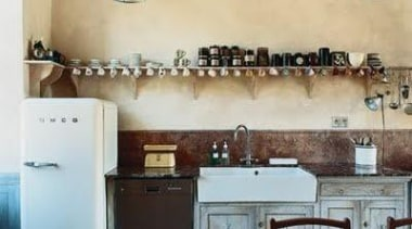 Kitchen Design Ideas by Smeg ceiling, countertop, cuisine classique, floor, flooring, home, interior design, kitchen, property, room, tile, wall, orange, brown