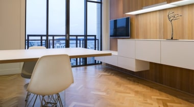 Highly Commended in the Category Imported Kitchen architecture, ceiling, floor, flooring, furniture, hardwood, interior design, laminate flooring, table, wall, wood, wood flooring, brown