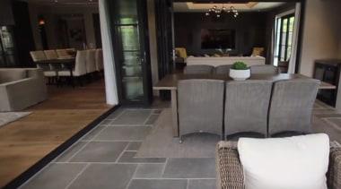 New Albany Show Home floor, flooring, furniture, hardwood, home, interior design, laminate flooring, living room, property, room, table, tile, wood flooring, black, gray