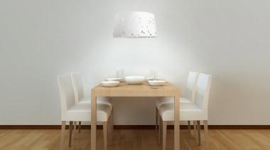 Trama White by La Creu, Spain chair, dining room, floor, flooring, furniture, hardwood, interior design, light fixture, product design, room, table, wall, wood, wood flooring, gray, brown