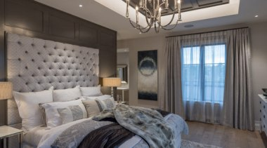 New Albany Show Home bed frame, bedroom, ceiling, home, interior design, real estate, room, wall, window, gray