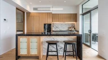 Kitchen featuring Gaggenau appliances and marble benchtops cabinetry, countertop, cuisine classique, floor, interior design, kitchen, real estate, room, gray