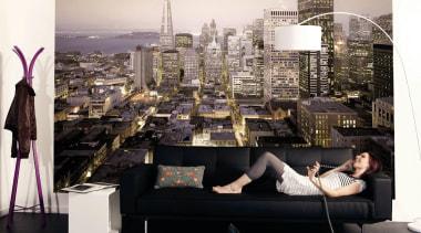 Urban Interieur couch, furniture, interior design, wall, wallpaper, black, white