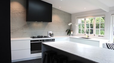 Evelyn McNamara Architects – TIDA New Zealand Architect-designed architecture, countertop, interior design, kitchen, real estate, room, window, gray, black, white