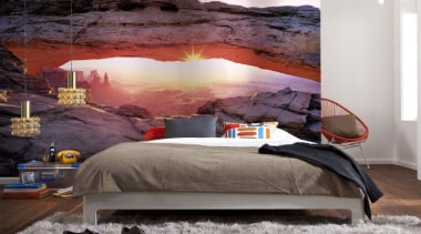Arch Canyon Interieur bed, bed frame, bedroom, furniture, home, interior design, room, wall, gray