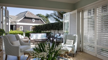 Living area backyard, estate, home, house, interior design, living room, outdoor structure, patio, porch, real estate, window, window covering, window treatment, gray