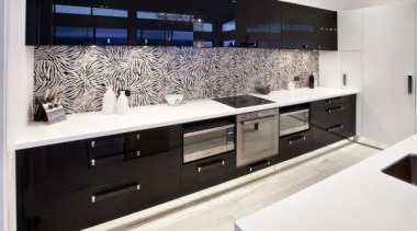 A bold two tone statement - featured in countertop, interior design, kitchen, room, white, black