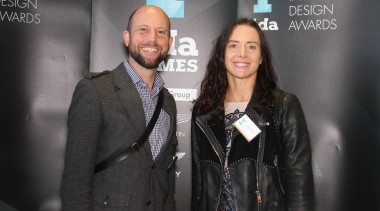Chris Holmes and Sophie Cotter from CAAHT Studio fashion, flooring, formal wear, outerwear, public relations, socialite, suit, black, gray