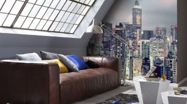 Skyline Interieur couch, furniture, home, interior design, living room, room, wall, window, black, gray, white