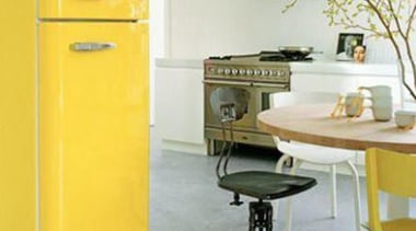 Add splash of color to your kitchen design desk, filing cabinet, furniture, home appliance, major appliance, product, product design, refrigerator, table, yellow, white, gray, yellow