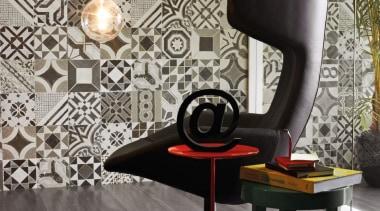 eco wood acacia negra 20x120 lounge floor tiles.jpg chair, couch, floor, flooring, furniture, interior design, living room, product design, table, wall, wallpaper, gray, black