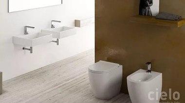 Smile by Cielo bathroom, bathroom sink, bidet, ceramic, floor, plumbing fixture, product, product design, sink, tap, tile, toilet, toilet seat, wall, white, brown