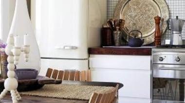 50s retro style aesthetic fridge/freezer in cream**Please note furniture, home, home appliance, interior design, kitchen, room, table, gray, white