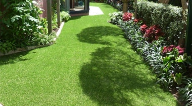Residential landscape artificial turf, backyard, courtyard, garden, grass, grass family, groundcover, landscape, landscaping, lawn, path, plant, property, shrub, walkway, yard, green