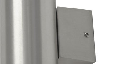FeaturesA contemporary exterior wall light styled in a light fixture, lighting, product design, gray, white