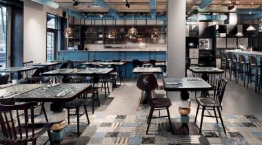 Cementina Evo Mix 200x200 interior design, restaurant, gray, black