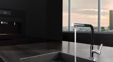 KLUDI L-INE 03 angle, bathroom, countertop, floor, interior design, plumbing fixture, sink, tap, tile, black
