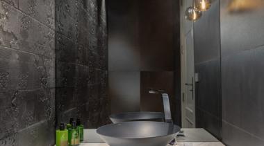 New Albany Show Home bathroom, countertop, interior design, room, sink, black, gray
